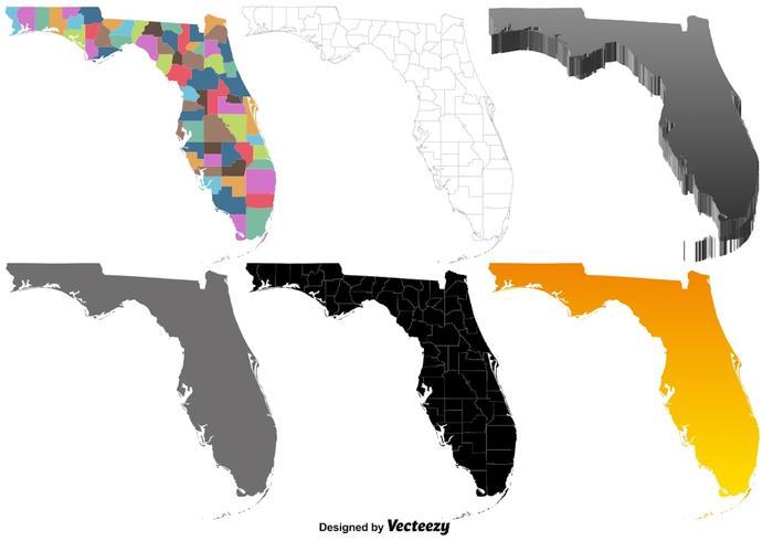 Vector Set Van De Kaart Van Florida