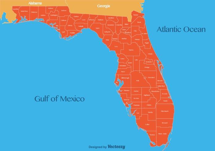 Vector Florida Kaart Illustratie