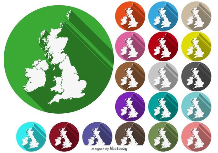Vector Britse Eilanden / Uk Kaartknoppen