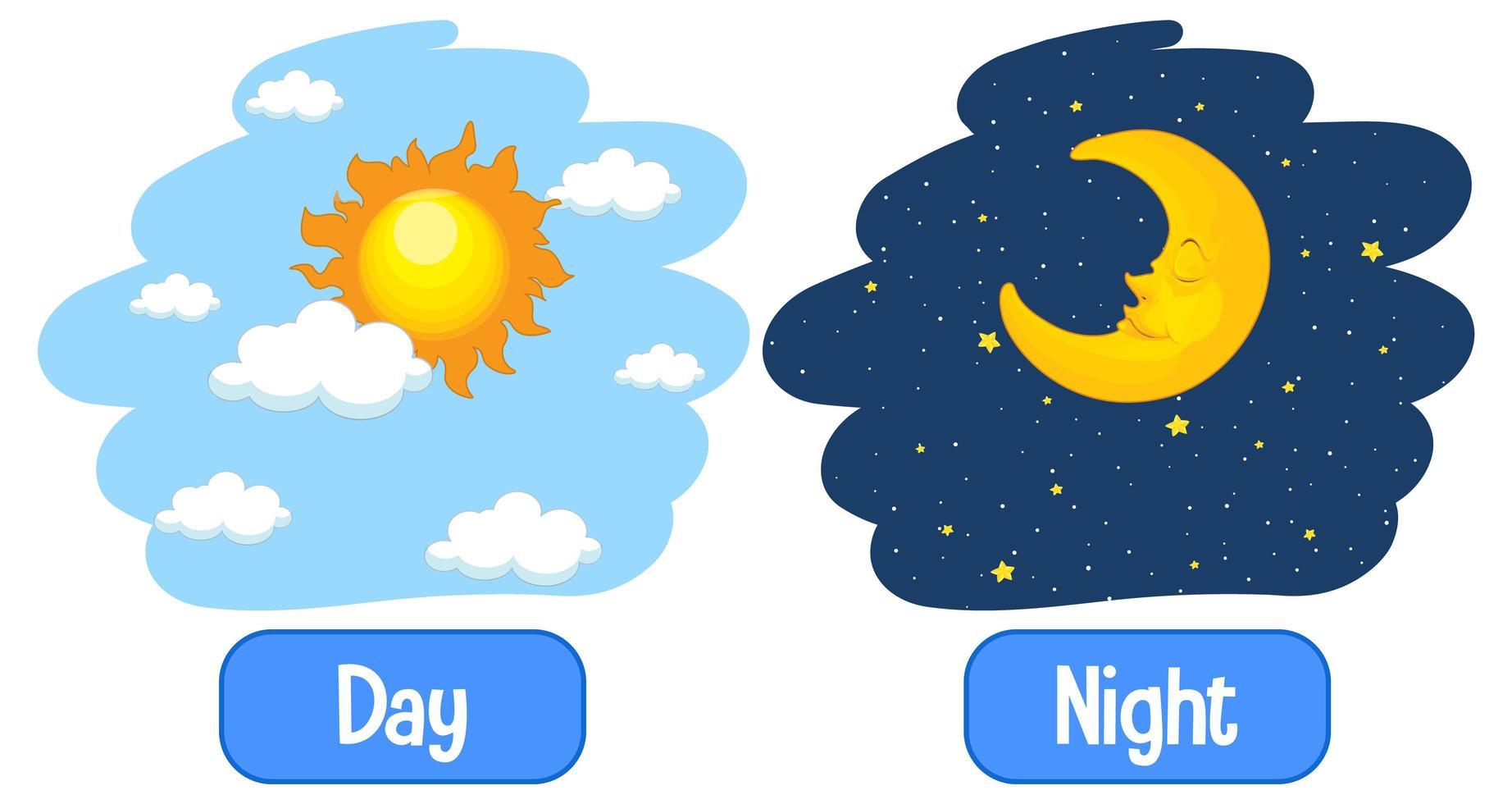 tegenovergestelde bijvoeglijke naamwoorden woorden met dag en nacht vector