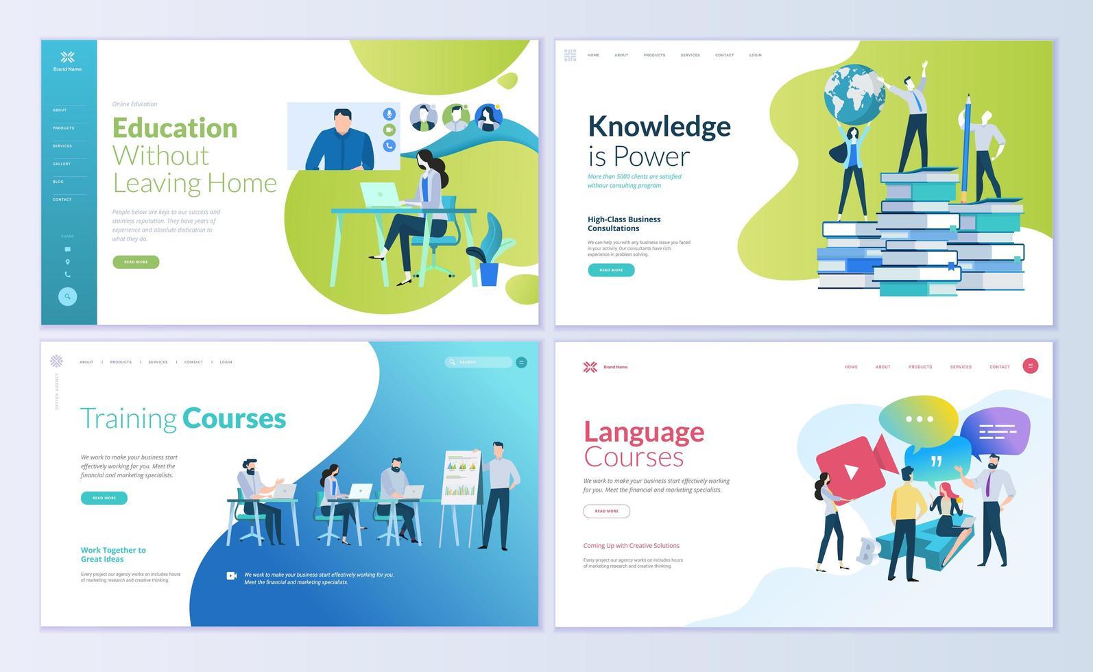 set webpagina-ontwerpsjablonen voor onderwijs op afstand vector