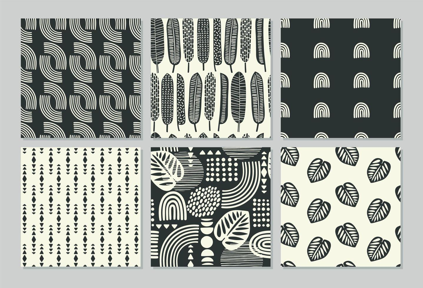 artistieke naadloze patronen met abstracte bladeren vector