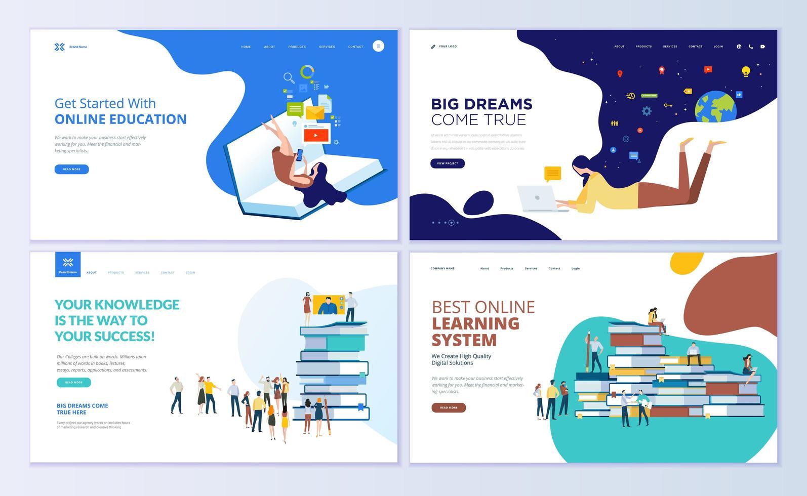 set ontwerpsjablonen voor webpagina's voor online onderwijs vector