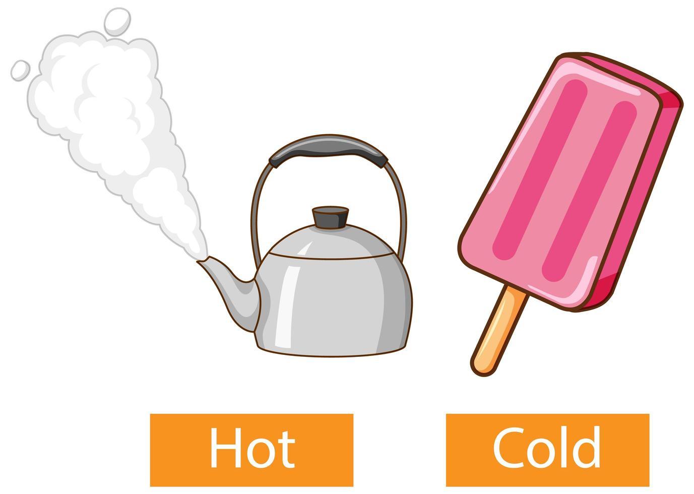 tegenovergestelde bijvoeglijke naamwoorden woorden met warm en koud vector