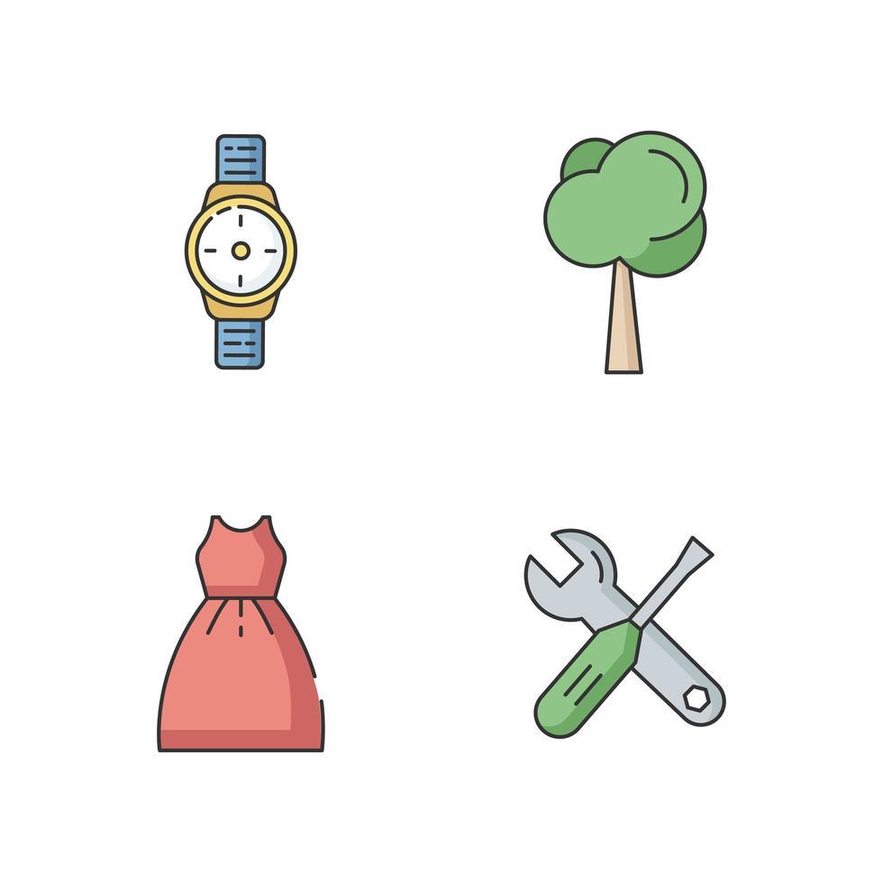 mannelijke en vrouwelijke producten RGB-kleur iconen set vector