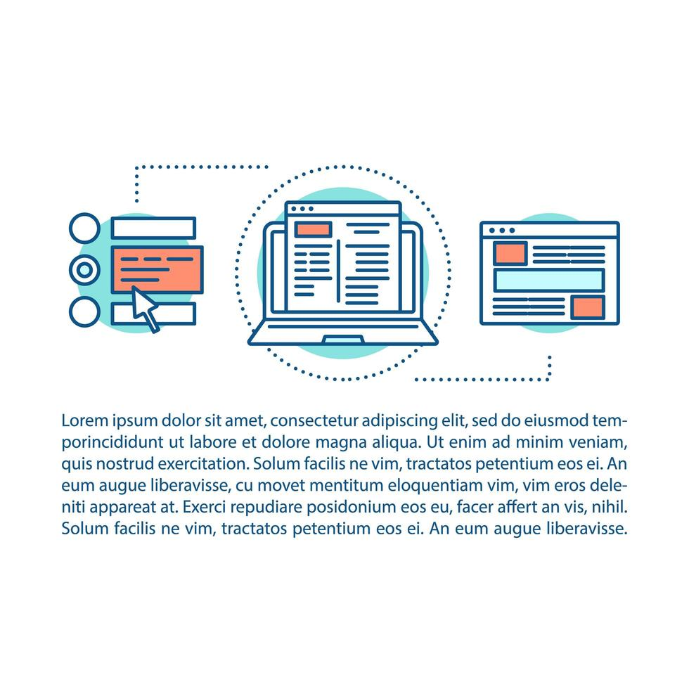 website constructie artikel pagina vector