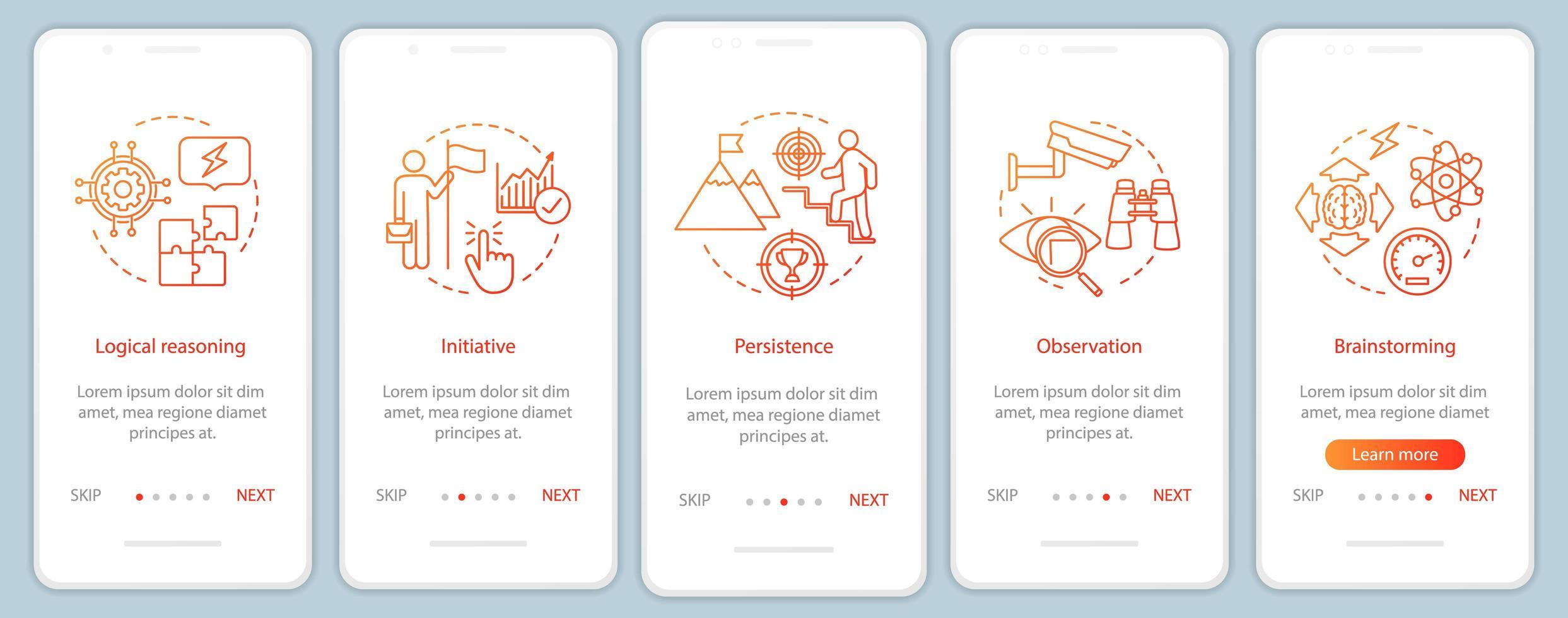 professionele kwaliteiten onboarding mobiele app-pagina vector