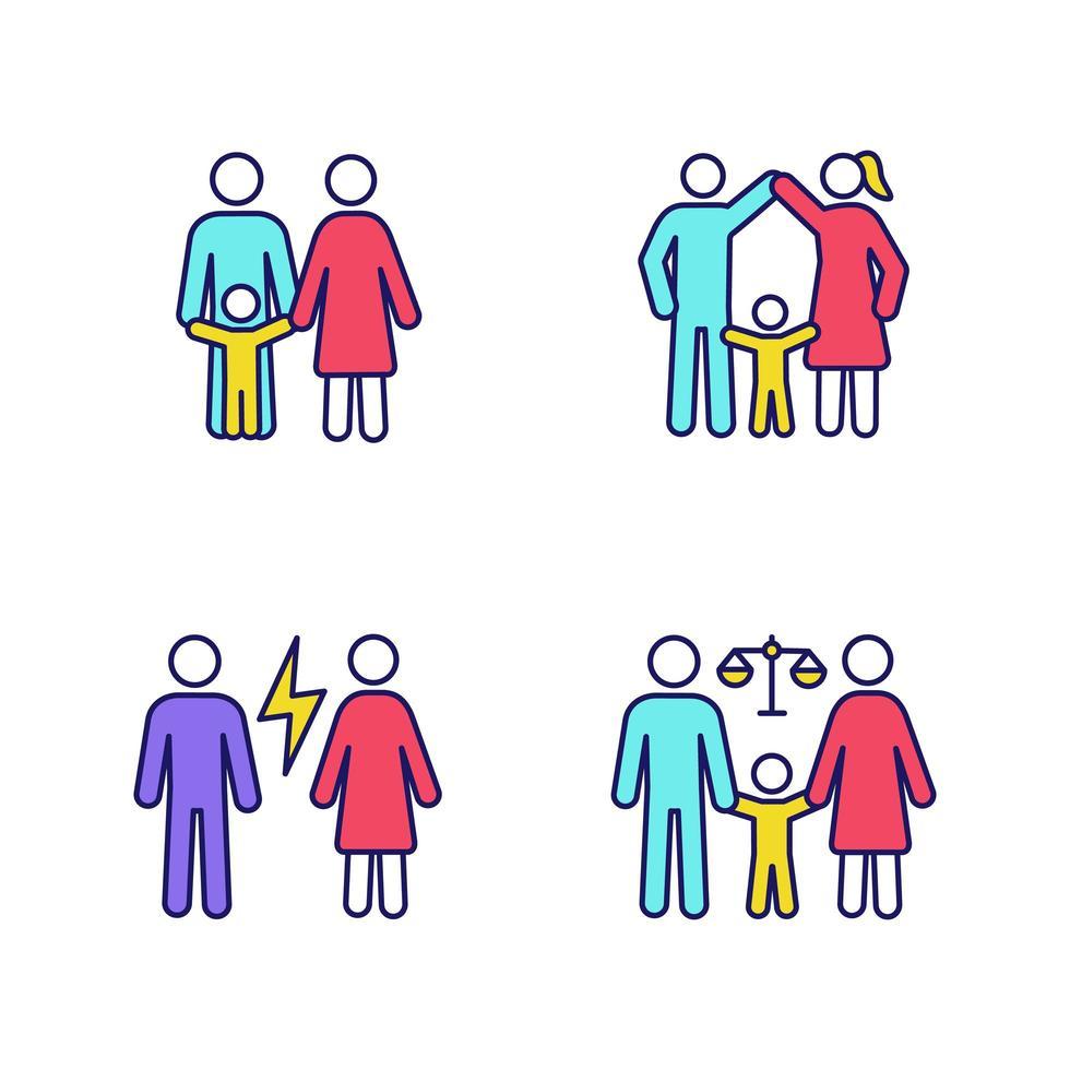 set van gekleurde pictogrammen voor voogdij over kinderen vector