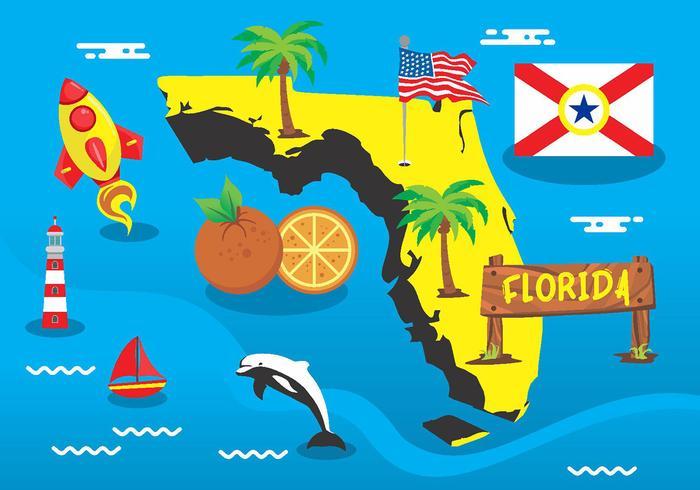 Florida kaart element vector pakket