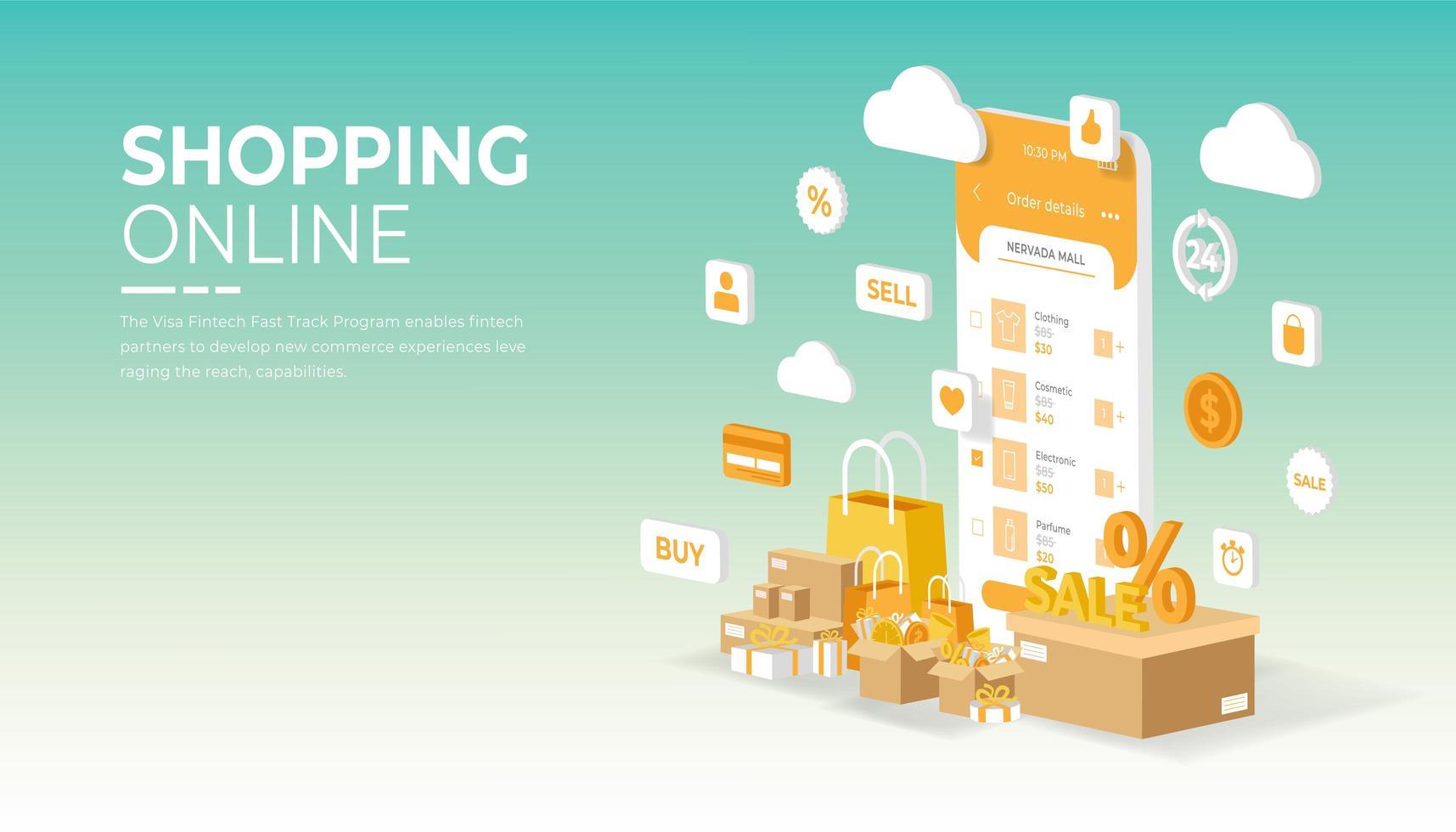 mobiele applicatie om online te winkelen op de website vector
