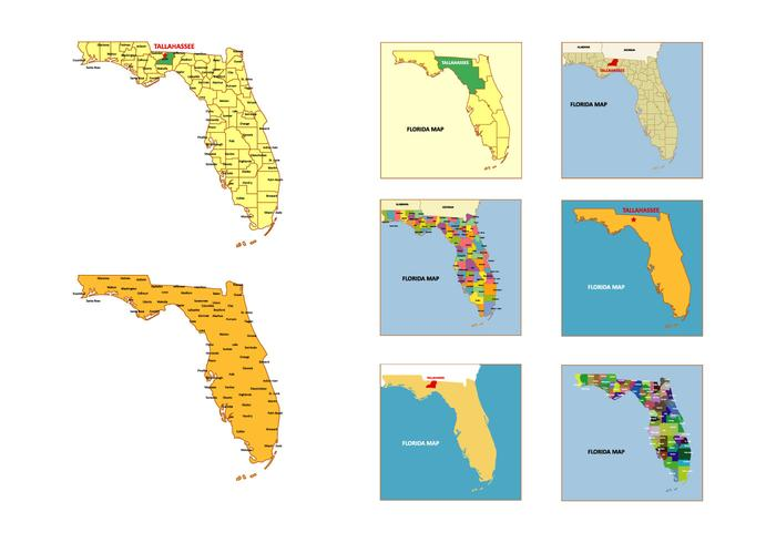 Florida kaart vector pakket