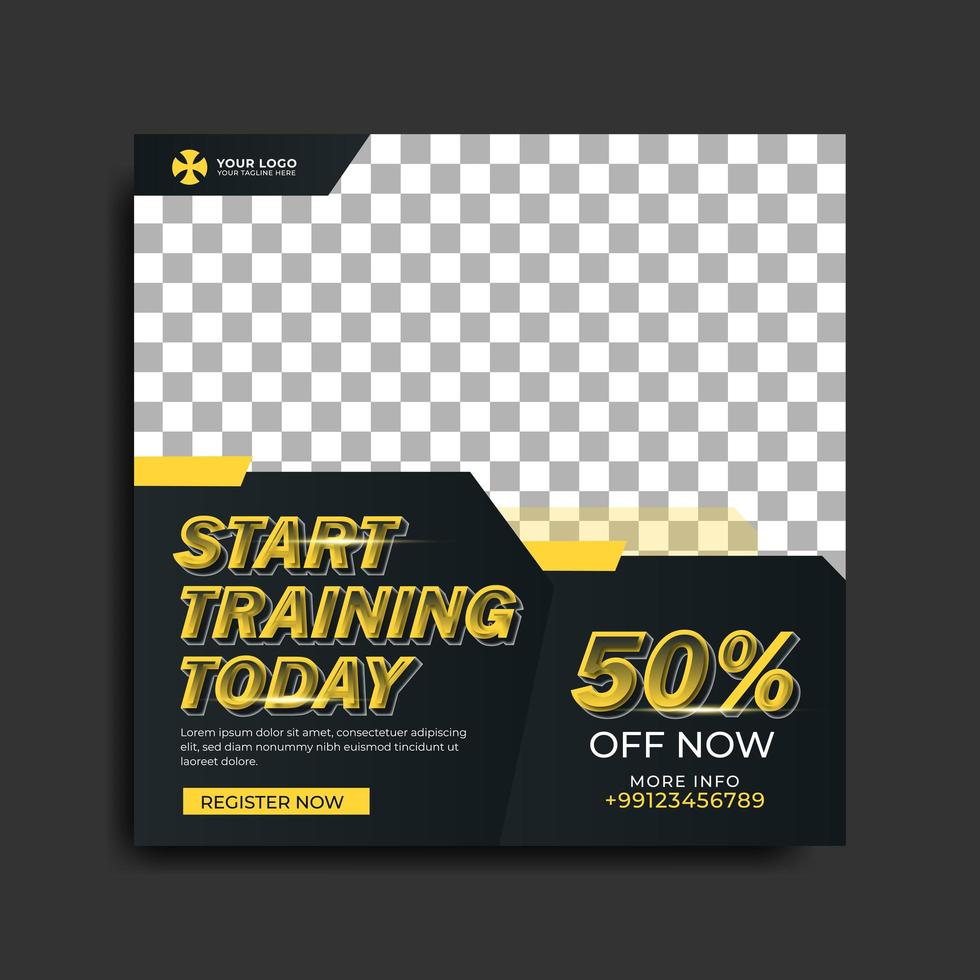 fitness of sportschool sociale media banner vector