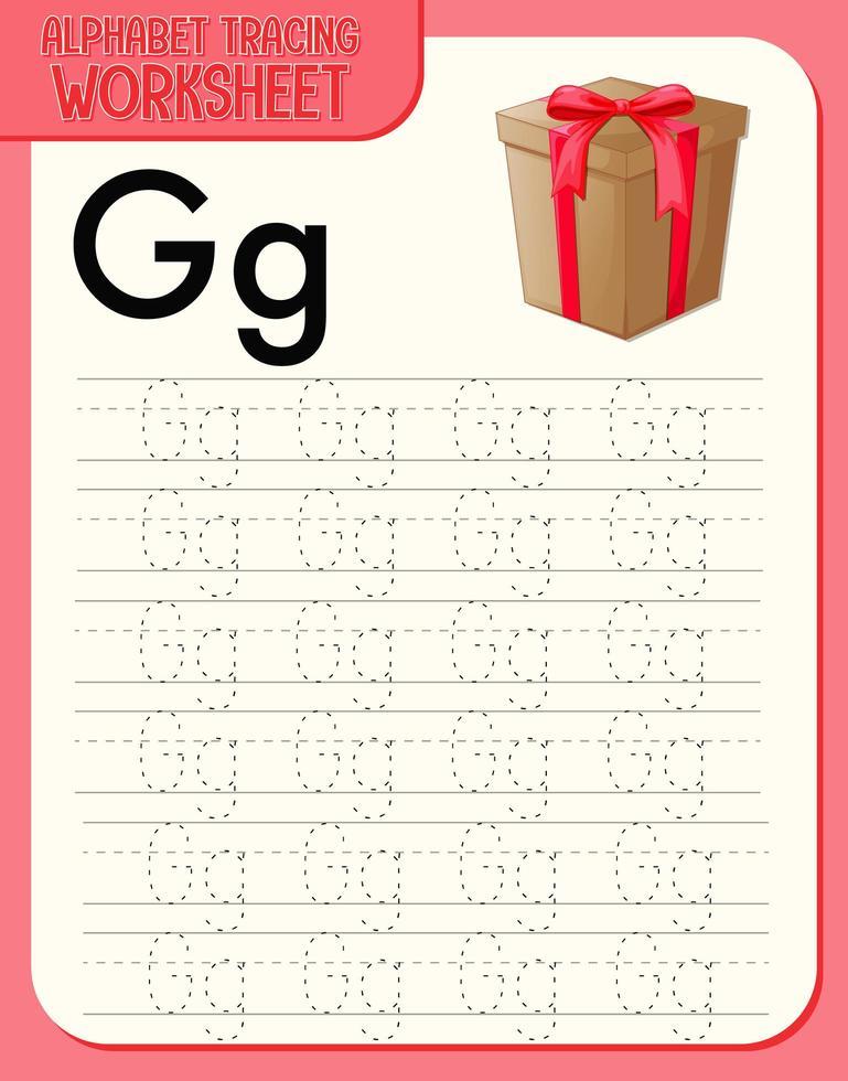 alfabet overtrekken werkblad met letter g en g vector