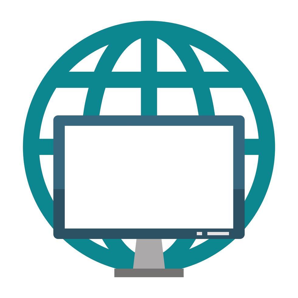 computerhardwarescherm met globaal bolsymbool vector