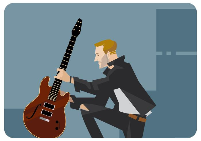 Gitarist Met Zijn Gitaar Vector