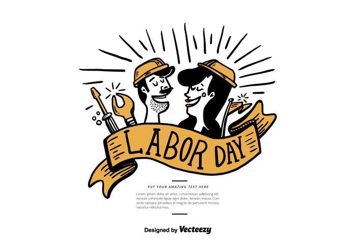 Labor Day Hand Getekende Vector