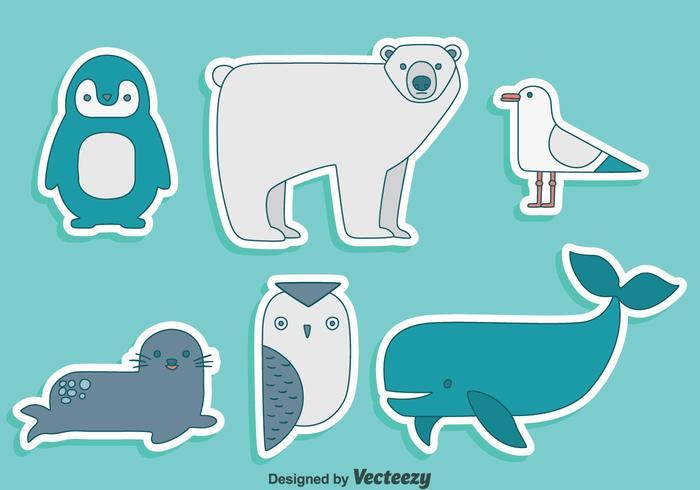 Polar Animal Collection Vector