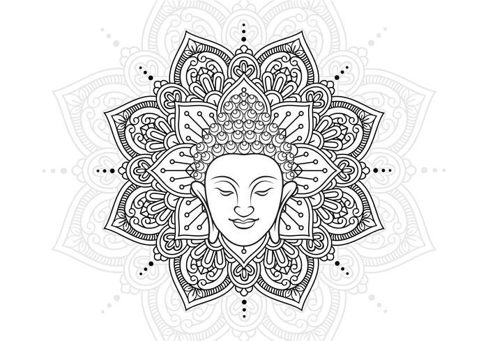 Boeddha Hoofd En Lotus Mandala vector