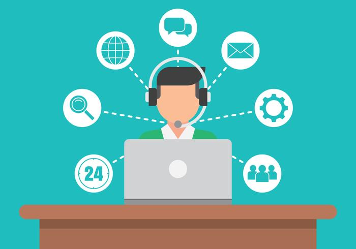 call center service icons ingesteld vector