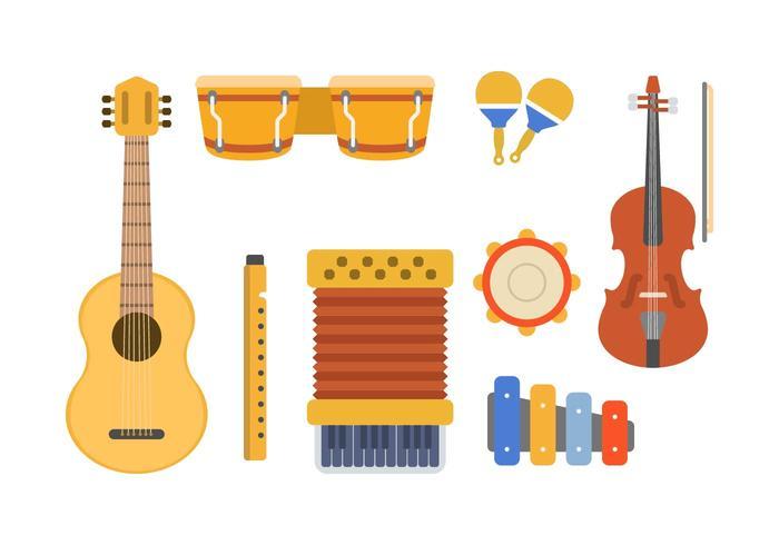 Platte muziekinstrumentvectoren vector