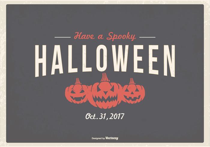 Retro Typografische Halloween Illustratie vector