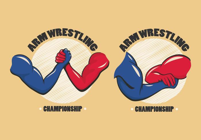 arm wrestling badge vector