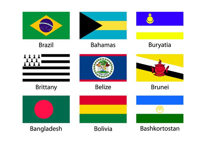 Verschillende vlag iconen collectie vector