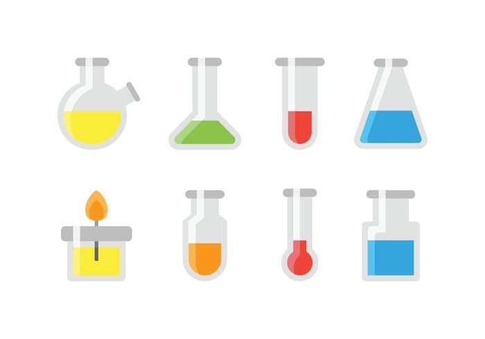 Chemische testbuis en glazen iconen vector