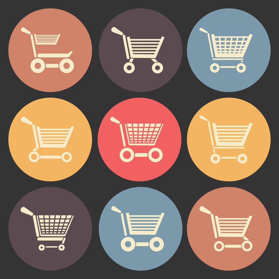 winkelwagentje platte pictogrammenset in kleur cirkels vector