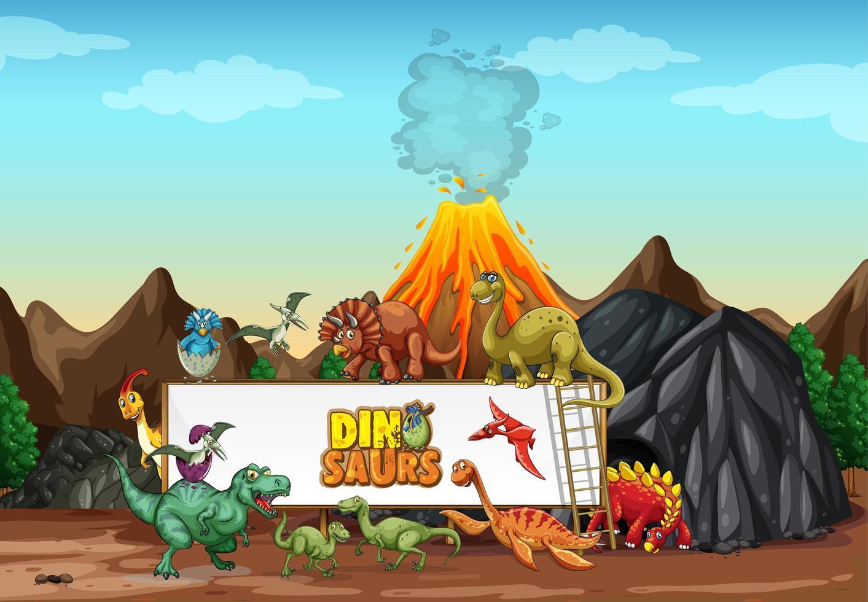 dinosaurussen stripfiguur in natuurtafereel vector