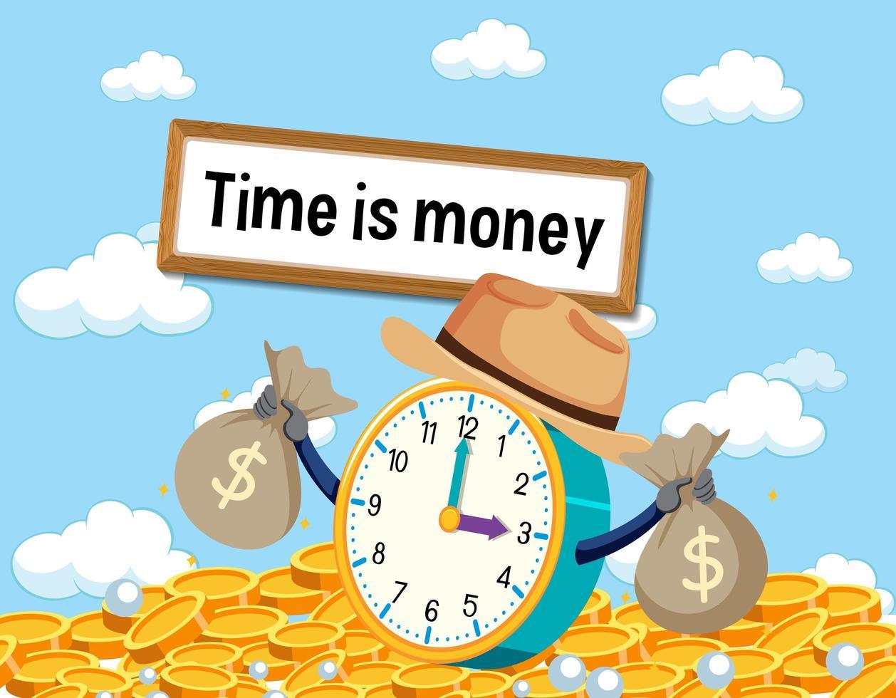 idioom poster met tijd is geld vector