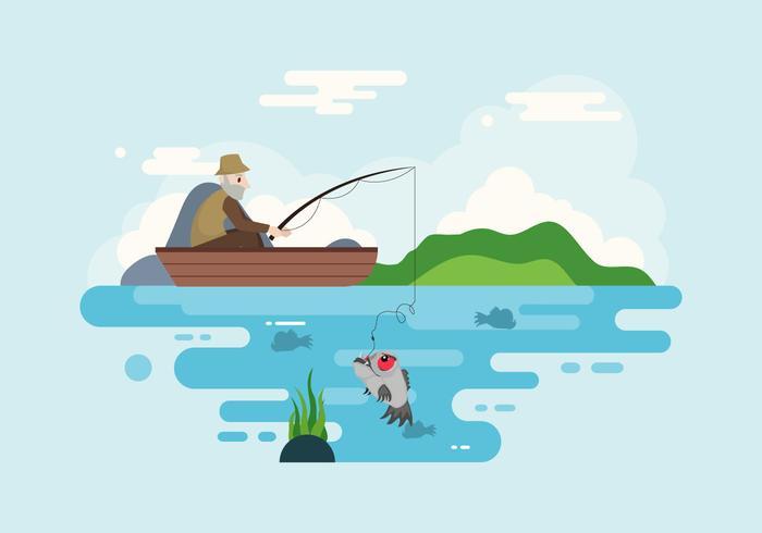 Piranha Fishing Illustratie Vector