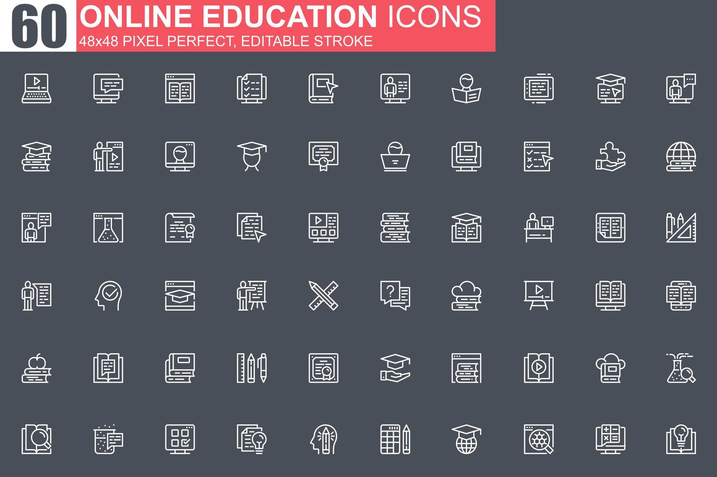 online onderwijs dunne lijn pictogramserie vector