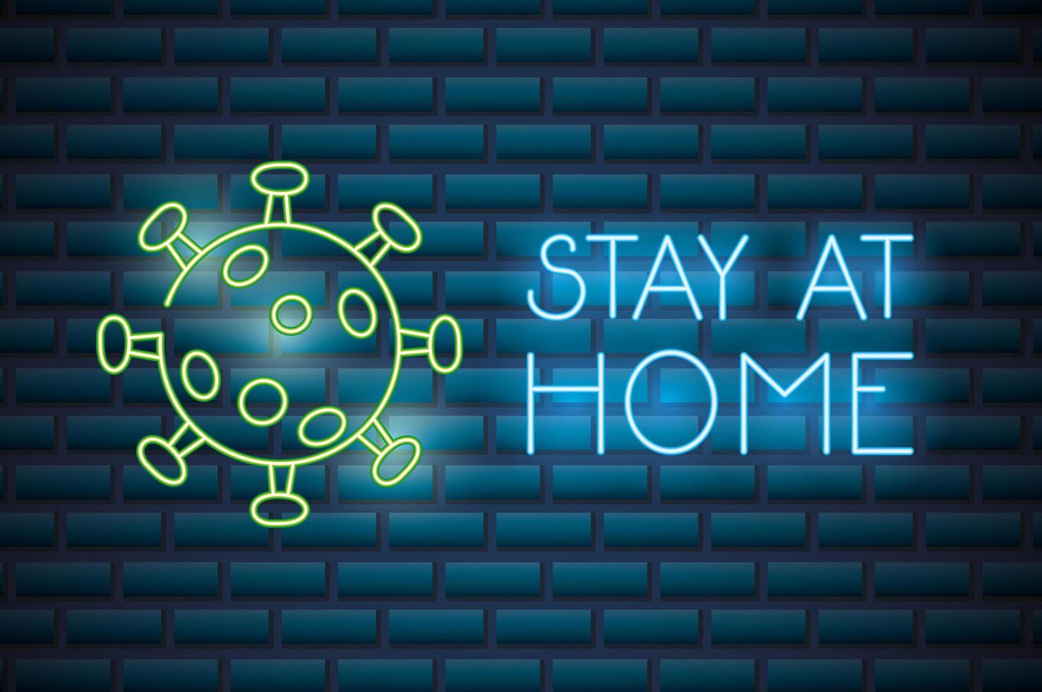 blijf thuis, coronavirus neonreclame vector