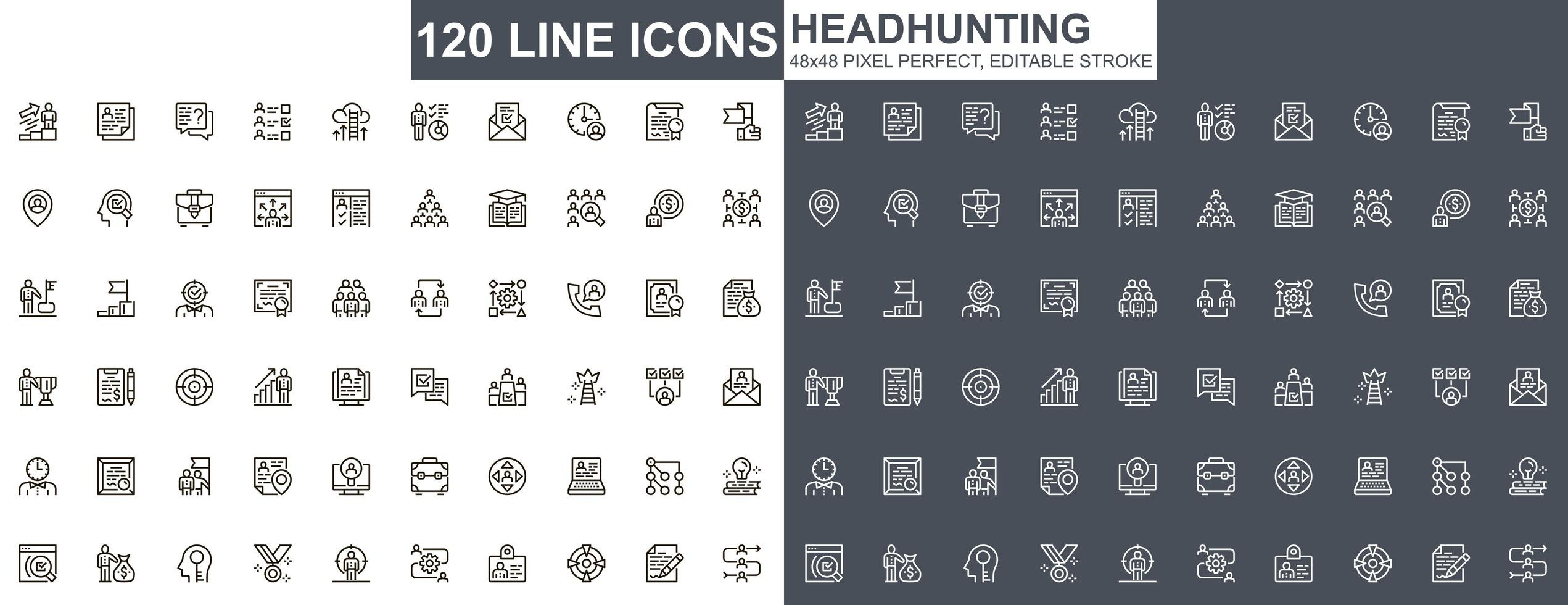headhunting dunne lijn iconen set vector