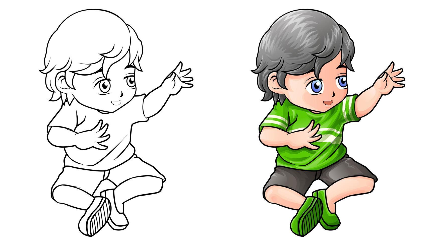 kind cartoon kleurplaat voor kinderen vector