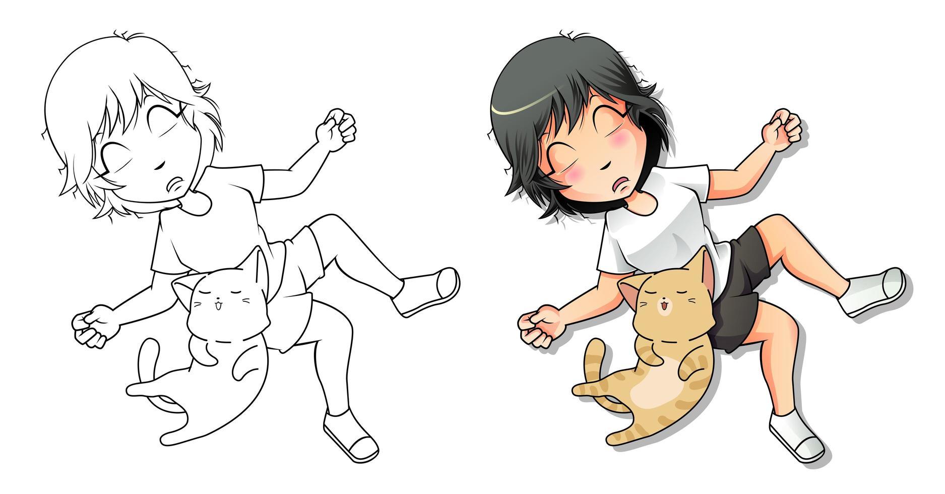 kattenliefhebber cartoon kleurplaat voor kinderen vector