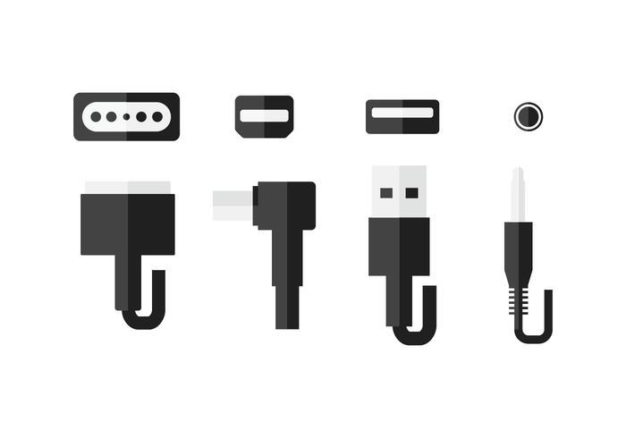 Computer plug-in en poort set iconen vector