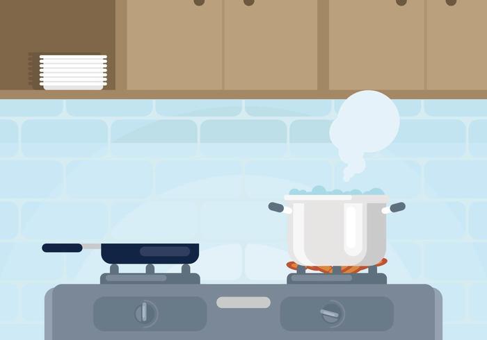 Pot Met Koolwater Illustratie vector