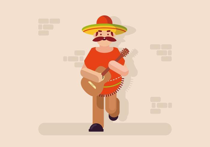Muzikant in Poncho Illustratie vector