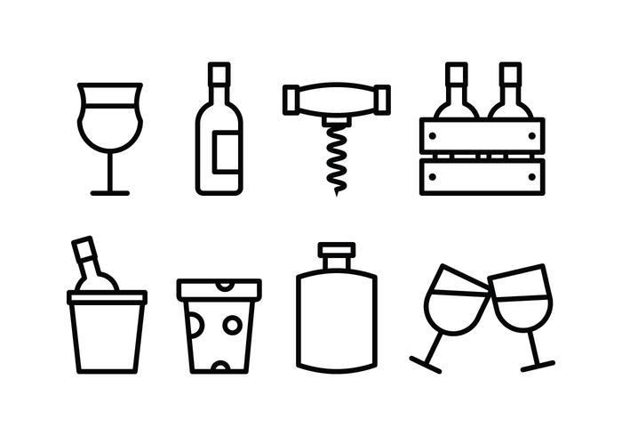 Wijn Icon Set vector
