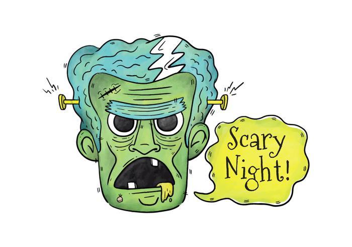 Boos Frankenstein Karakter Met Spraakbel vector