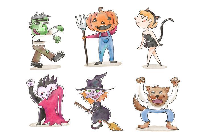 Leuke Kinderen In Halloween Kostuums Vectoren