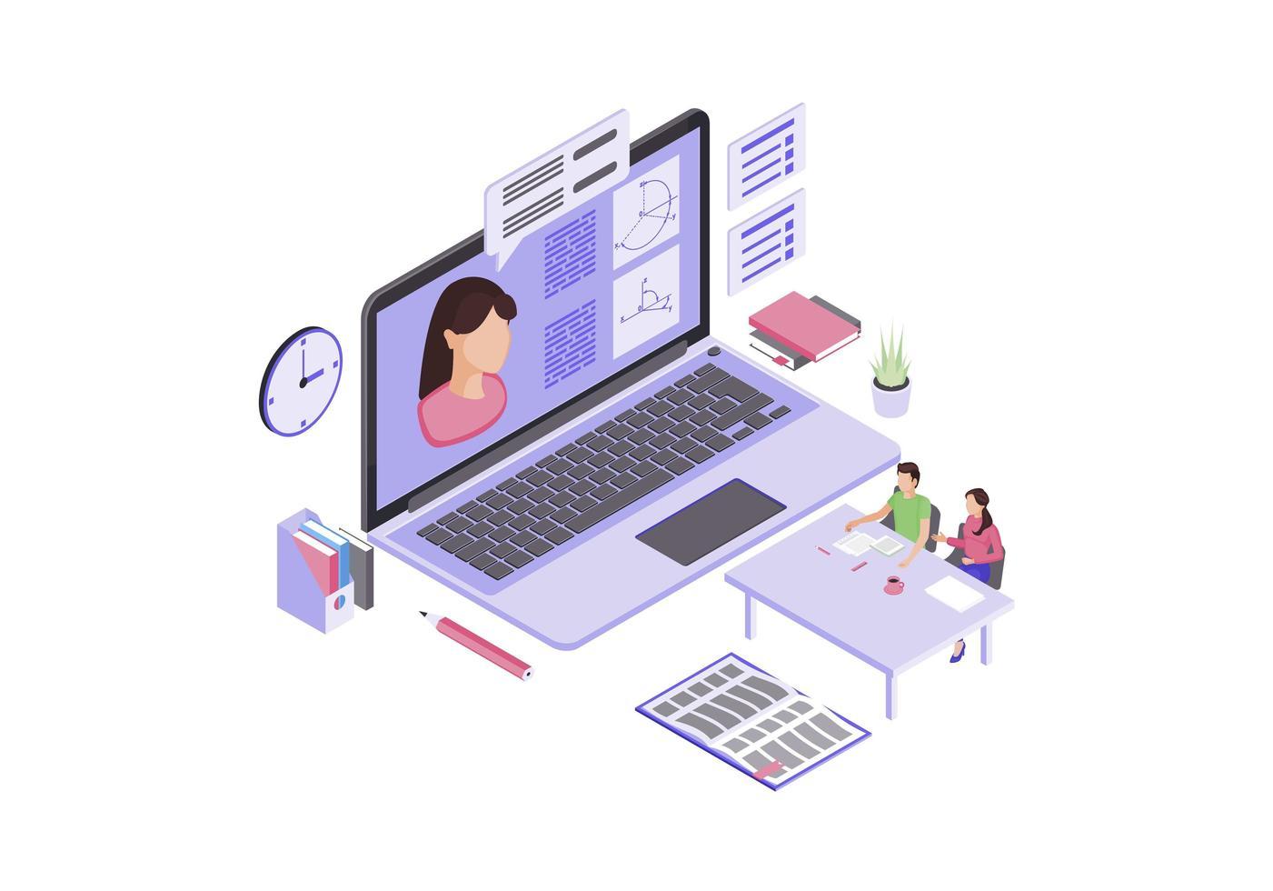 online onderwijs isometrische kleur vector