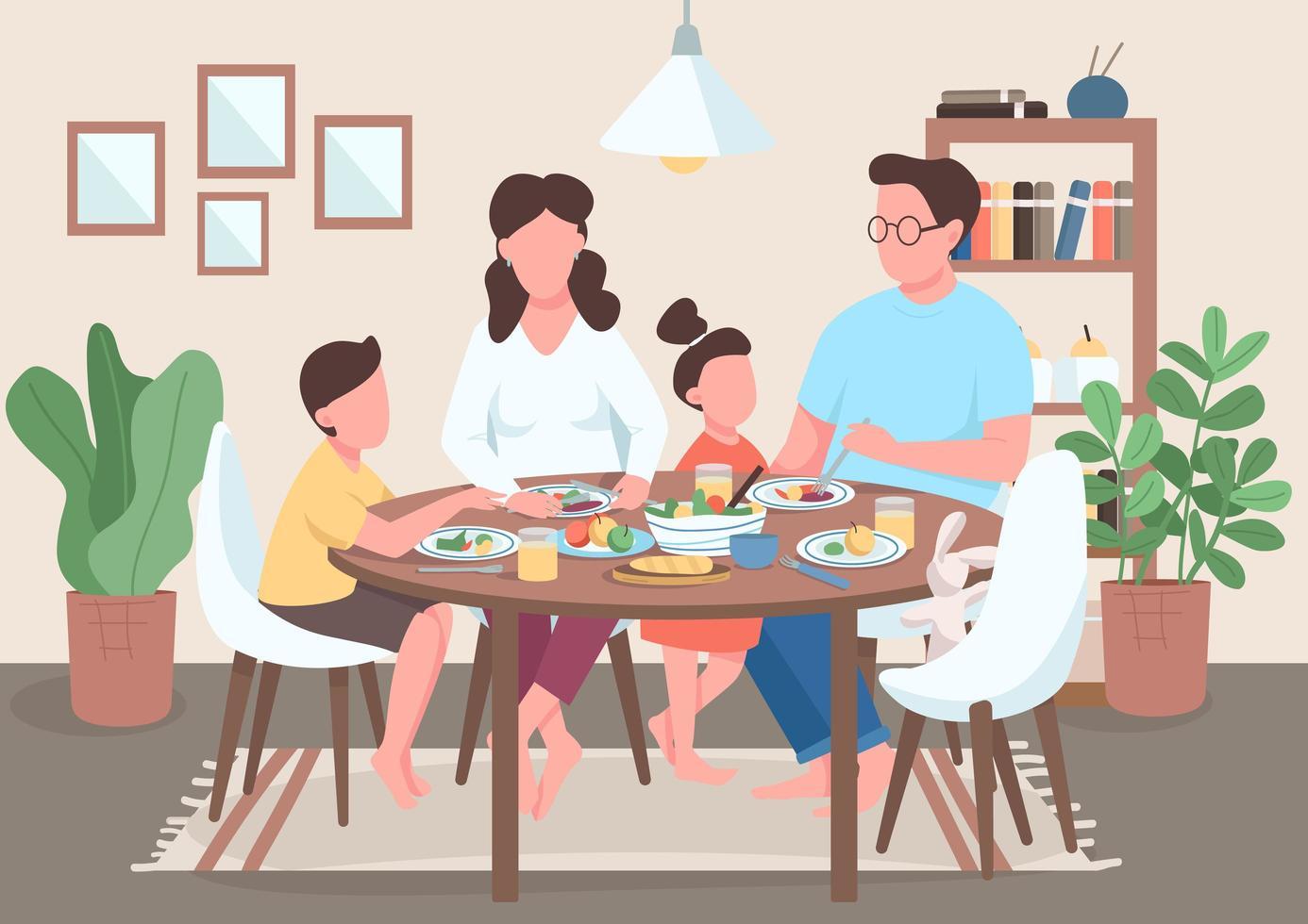 gezinsmaaltijd plat vector