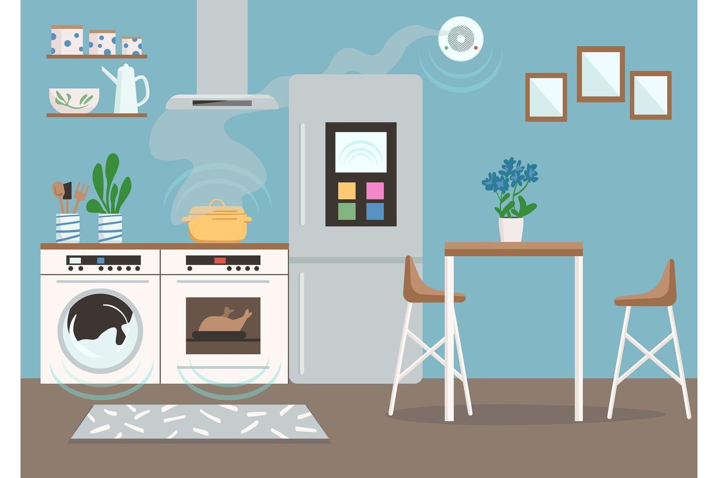 slimme keuken achtergrond vector