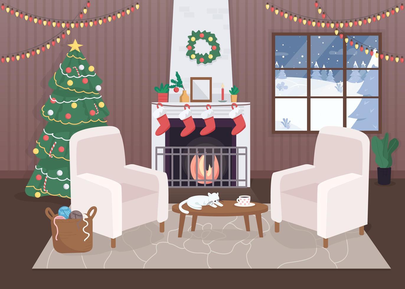 binnen versierd kersthuis vector