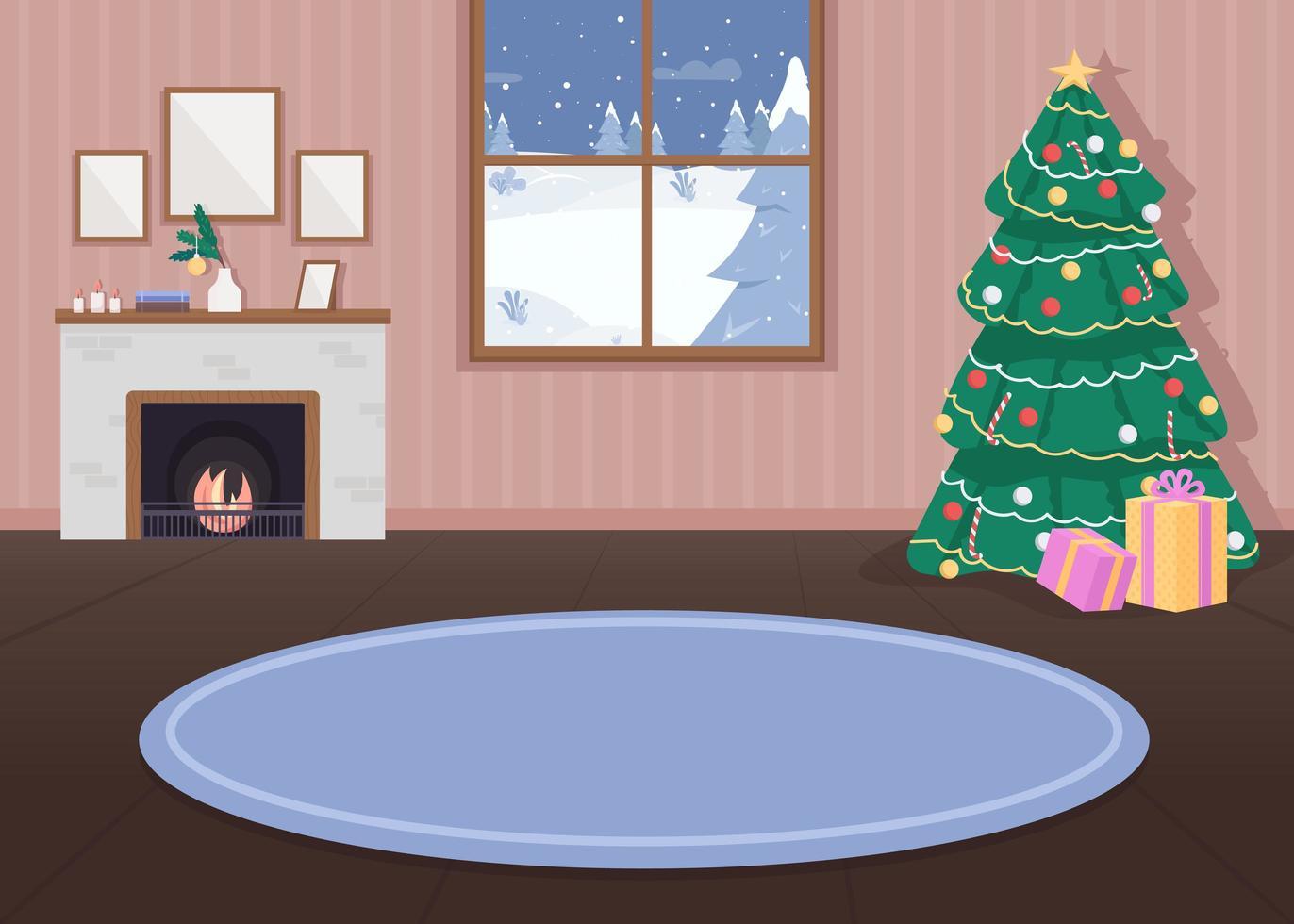 kerst versierd huis vector