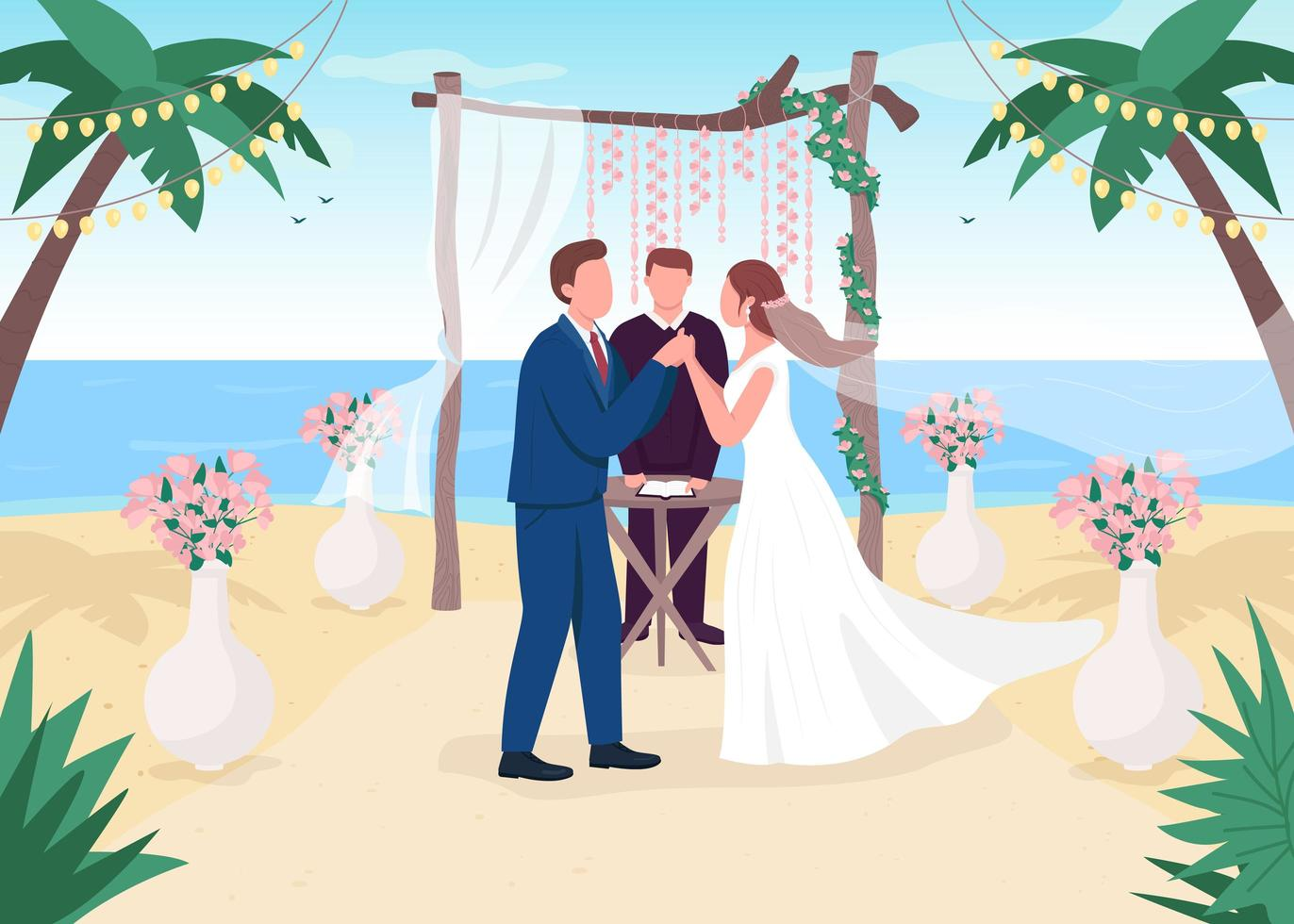 tropische huwelijksceremonie vector