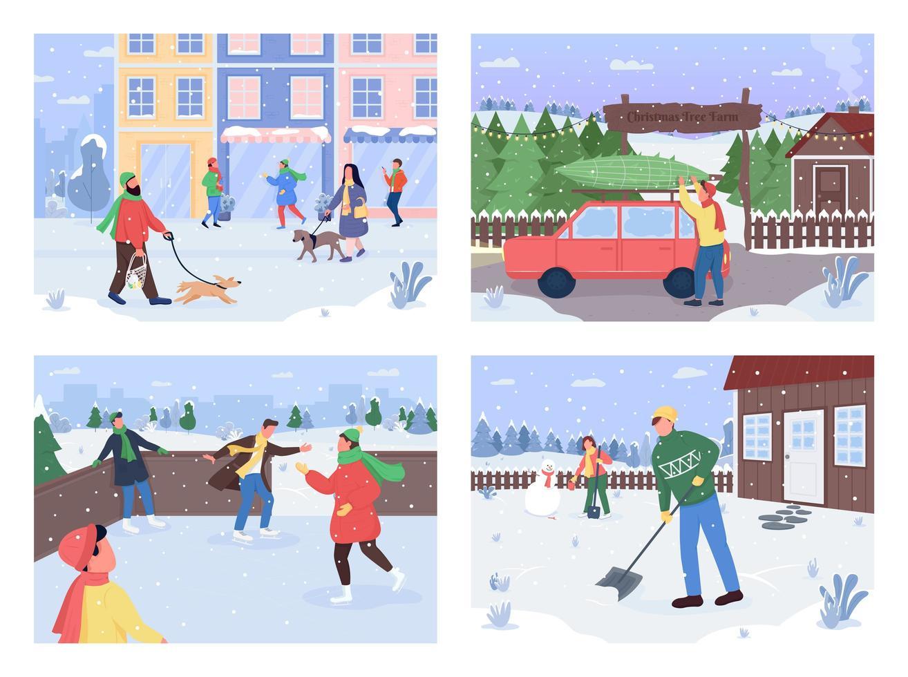 winter buiten activiteit vector